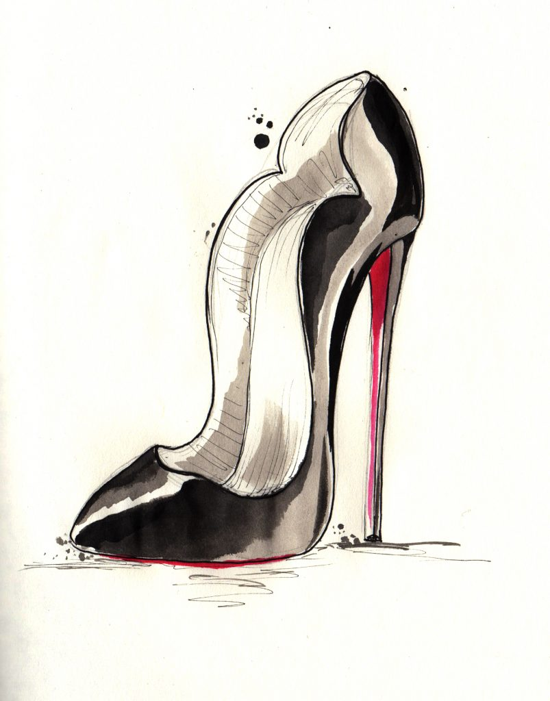 Louboutin, Illustration, High Heels, Stilletto, Pumps, rote Sohle