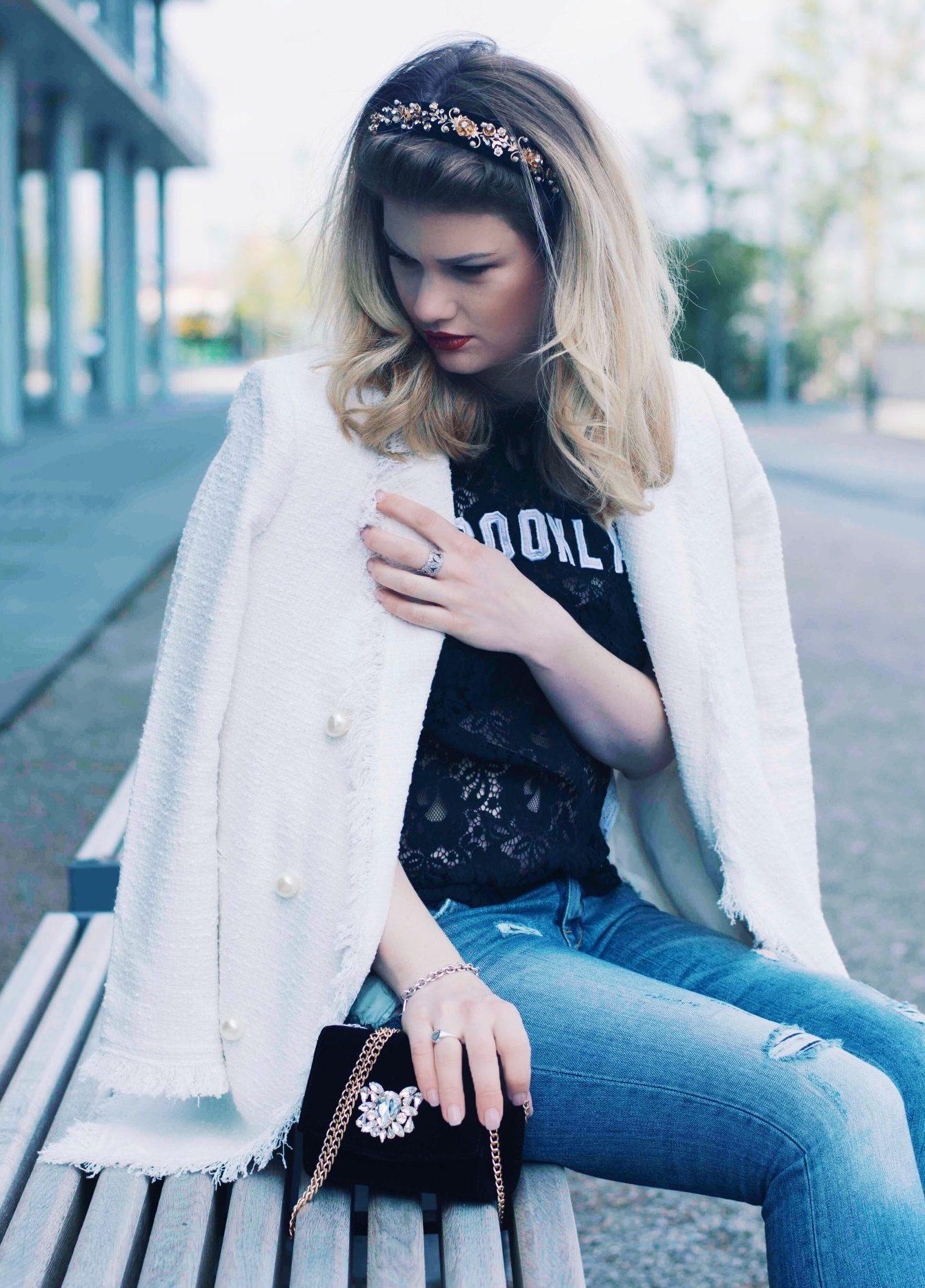 Zara mantel mit perlen