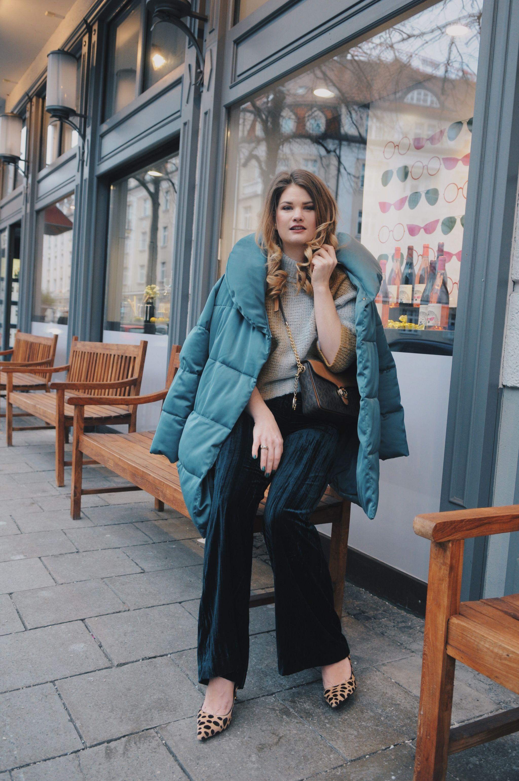 Shades of Green – Oversize Padded Jacket, Velvet Pants und Tom Ford Leo Pumps
